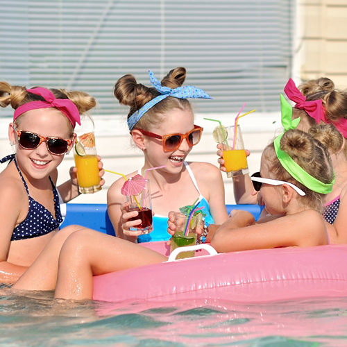 children at birthday swimming pool party