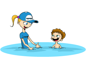 child swim lesson illustration